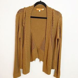 One A | Brown camel colored tassel sweater